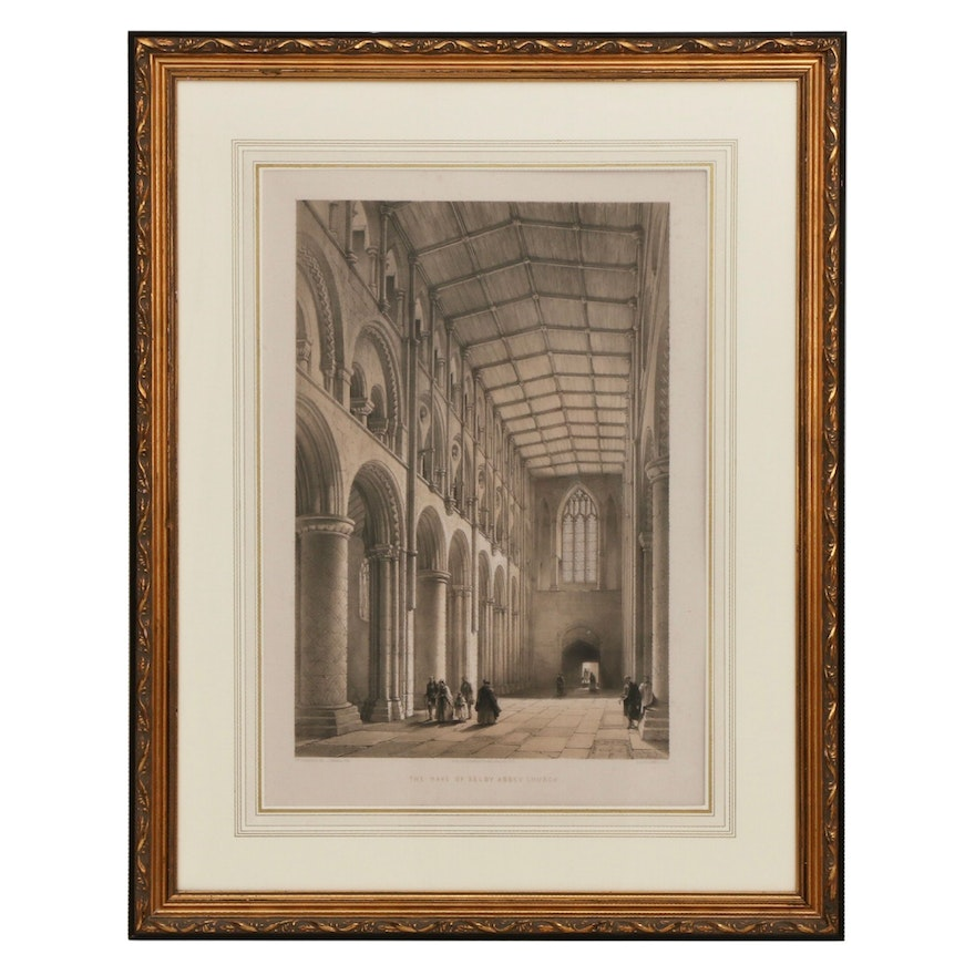 """G. Hawkins Lithograph After William Richardson """"The Nave of Selby Abbey Church"""""""