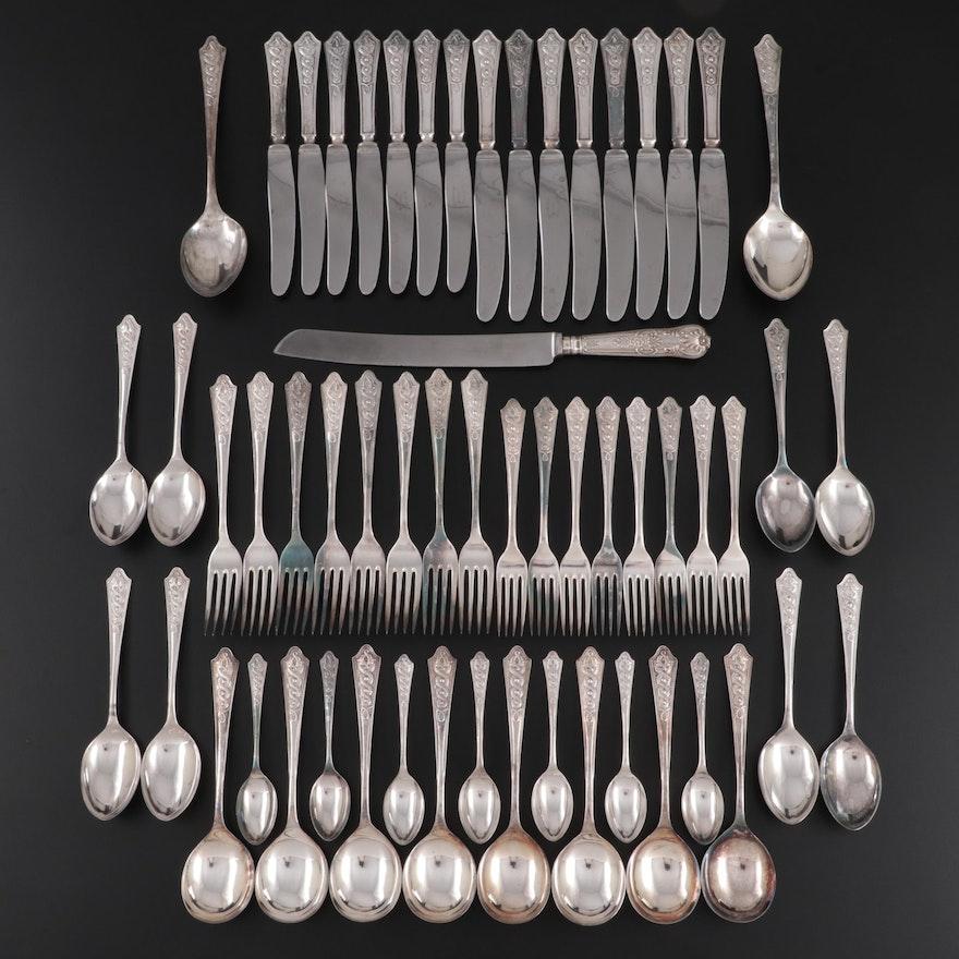 "Newbridge ""Celtic"" Silver Plate Flatware and Viners Sterling Handled Bread Knife"