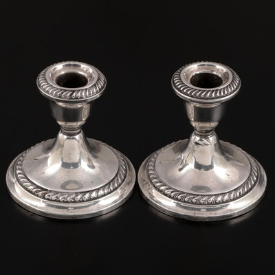 """Gorham """"Puritan"""" Weighted Sterling Silver Candle Holders"""