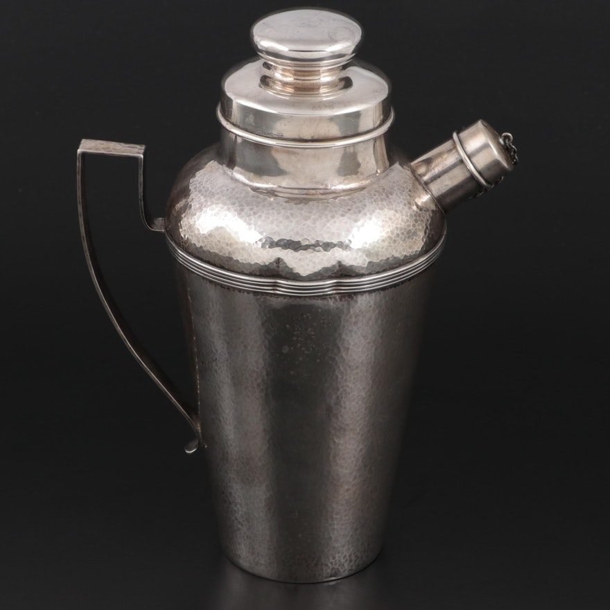 Webster Company Hammered Sterling Silver Cocktail Shaker, Early to Mid 20th C.