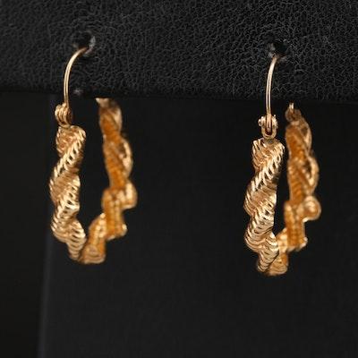 14K Braided Hoop Earrings