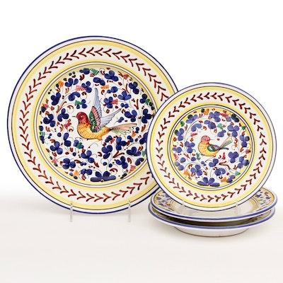 Toscana Italian Maiolica Earthenware Chop Plate and Salad Plates, Late 20th C.