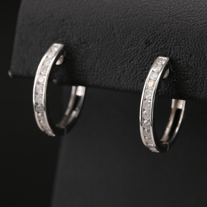 14K Channel Set 1.00 CTW Diamond Hoop Earrings