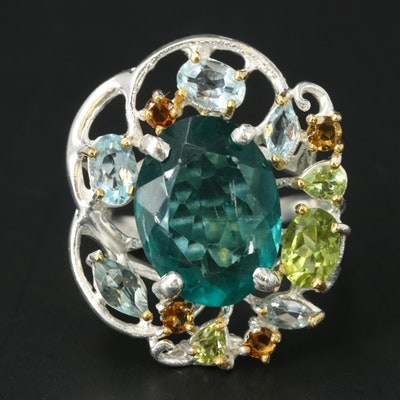 Sterling Silver Topaz and Peridot Ring