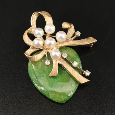 14K Gold Jadeite, Pearl and Diamond Ribbon and Heart Brooch