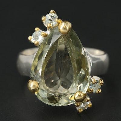 Sterling Silver Prasiolite and Topaz Ring