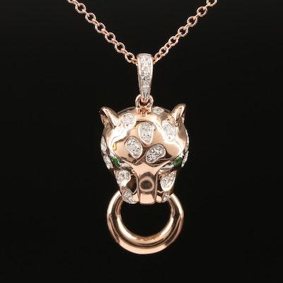 14K Rose Gold Diamond and Tsavorite Leopard Door Knocker Pendant Necklace