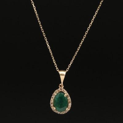 14K 2.00 CT Emerald Pendant Necklace with Diamond Halo
