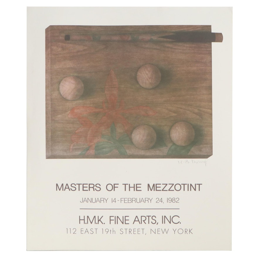 """Offset Lithograph Exhibition Poster """"Masters of the Mezzotint,"""" 1982"""