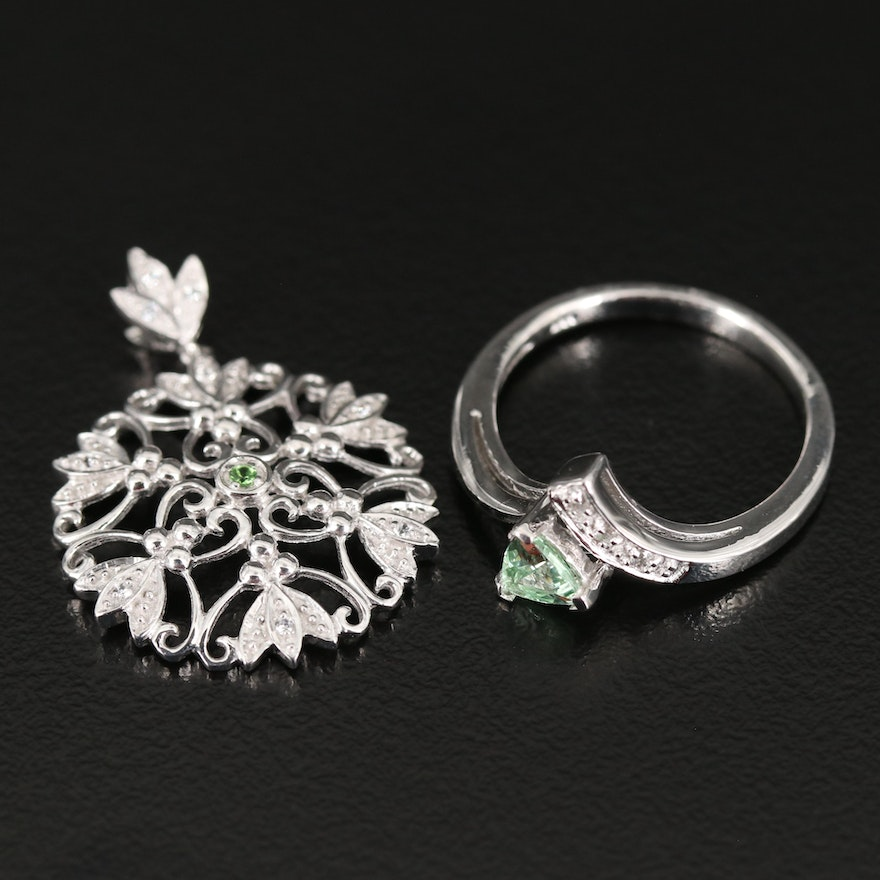 Sterling Heart Ring and Openwork Pendant Including Tsavorite and White Zircon