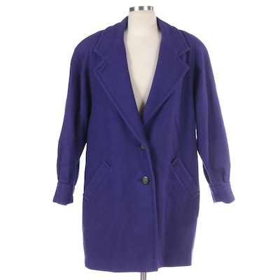 Donnybrook Woman Purple Wool Blend Coat with Notched Lapel and Banded Cuffs