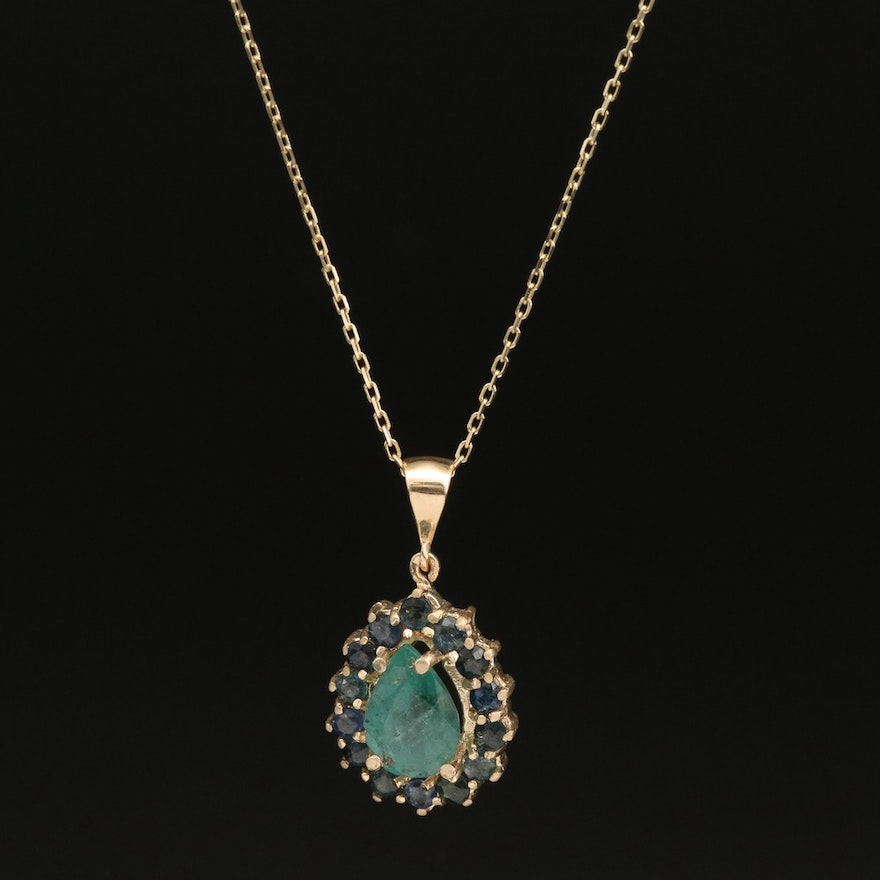 14K 2.60 CT Emerald Pendant Necklace with Sapphire Halo