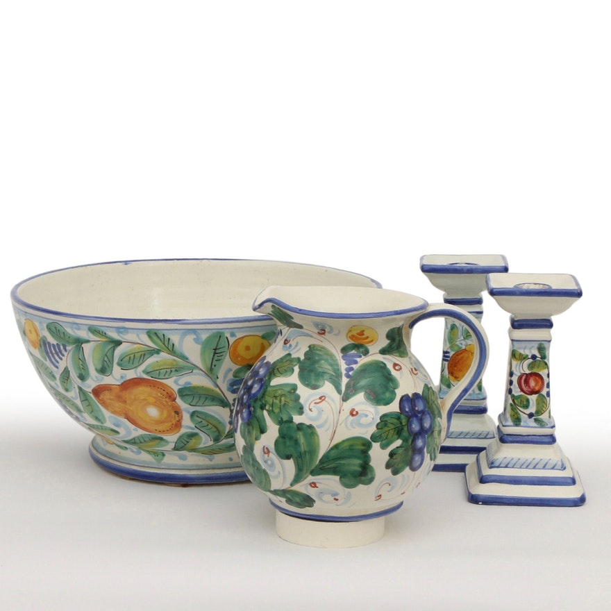 Toscana Italian Maiolica Earthenware Centerpiece Bowl, Pitcher and Candlesticks