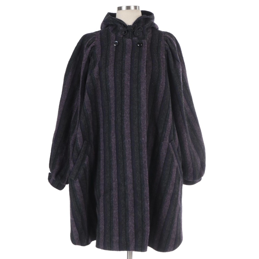Nan Elliot  Exclusive Striped Wool Batwing Sleeve Coat with Hood