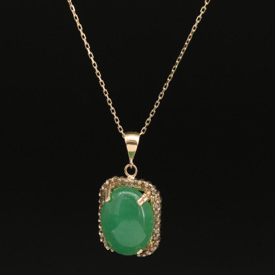 14K Quartz and Diamond Halo Pendant Necklace
