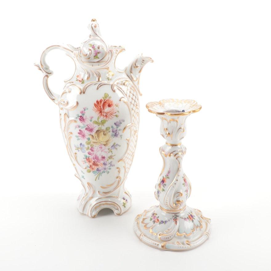 Dresden Porcelain Franziska Hirsch Coffee Pot and Wolfsohn Candlestick
