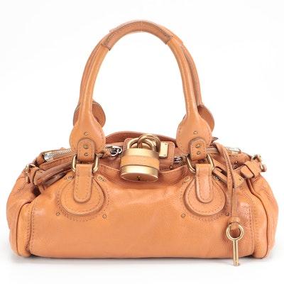 Chloé Paddington Medium Satchel in Tan Grained Leather