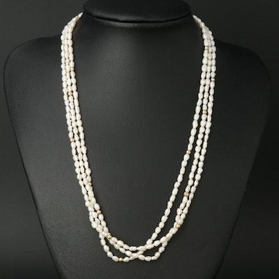 14K Triple Strand Pearl Necklace