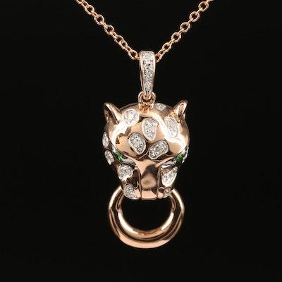 EFFY 14K Rose Gold Diamond and Tsavorite Leopard Door Knocker Pendant Necklace