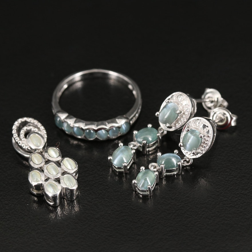 Sterling Grouping Including Cat's Eye, Alexandrite, Color Changing Chrysoberyl