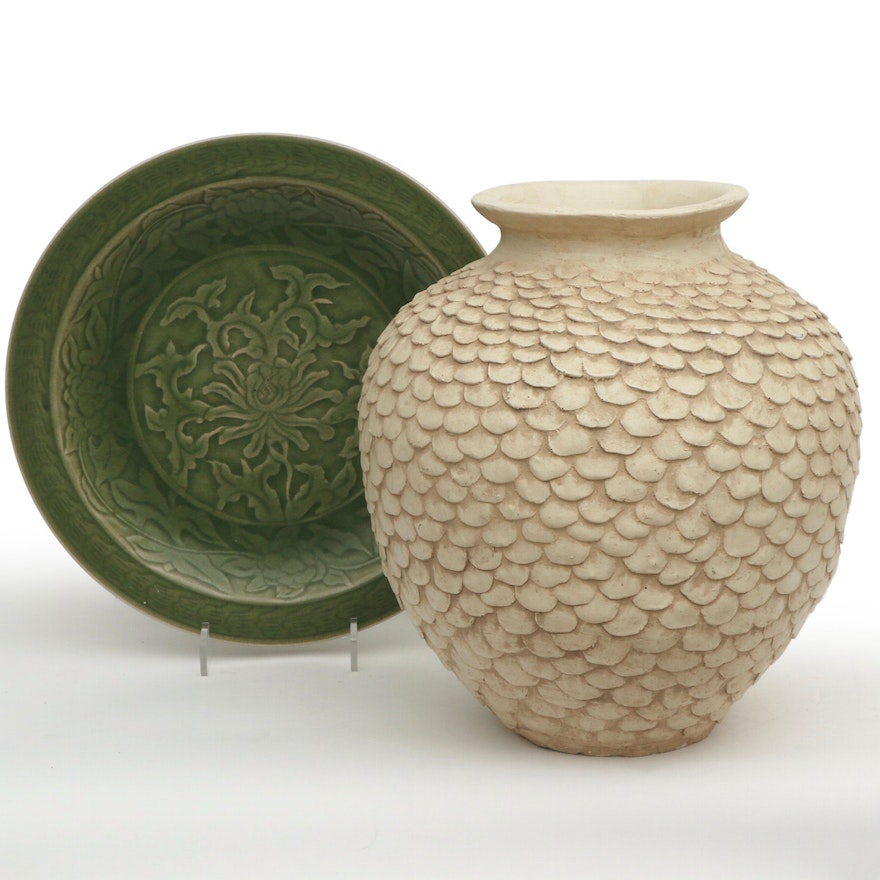 C. Oxford Low-Relief Carved Earthenware Pot and Asian Glazed Low Bowl