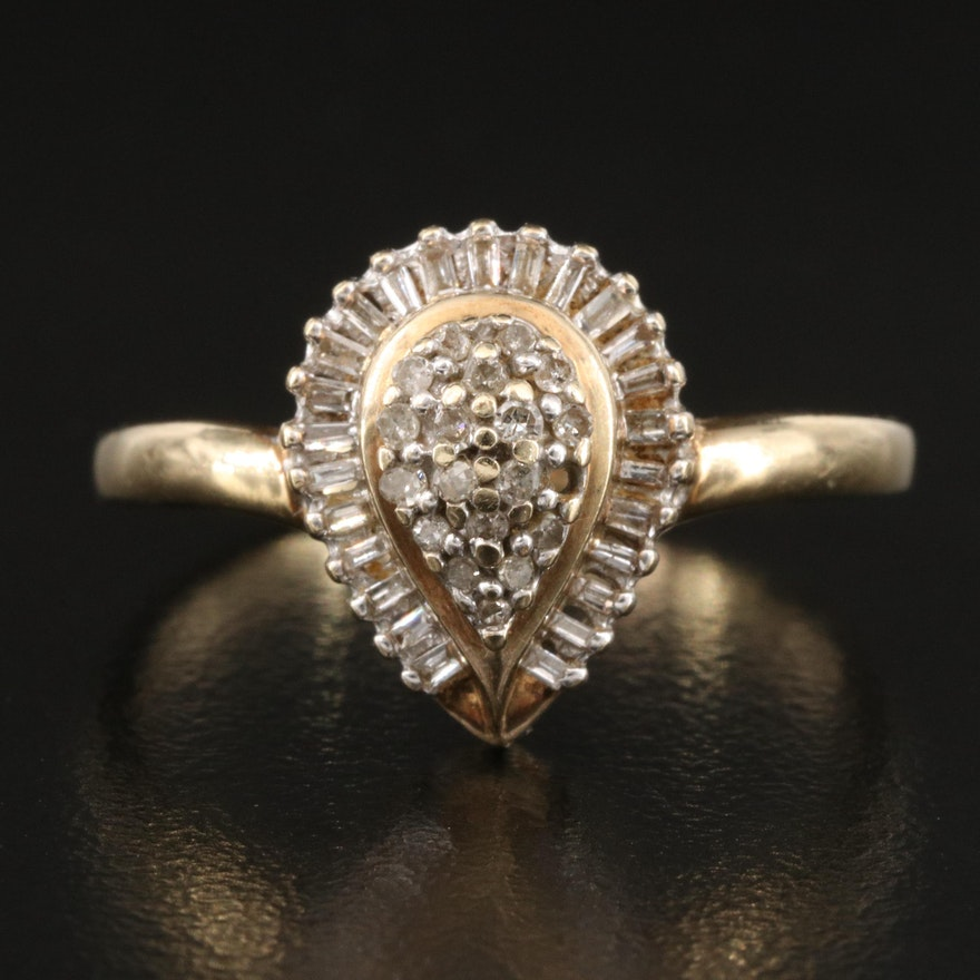 10K Diamond Teardrop Cluster Ring