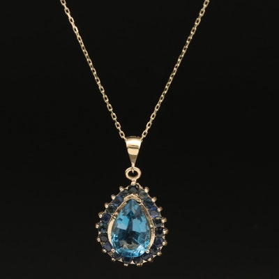 14K London Blue Topaz Pendant Necklace