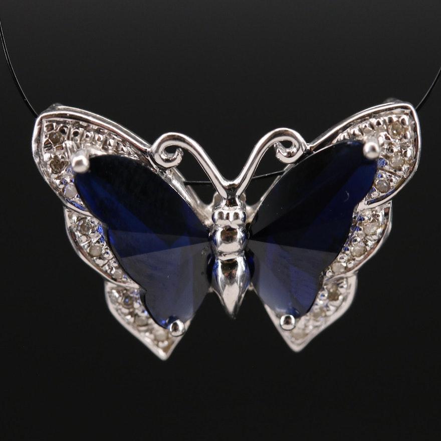 10K Sapphire and Diamond Butterfly Slide Pendant