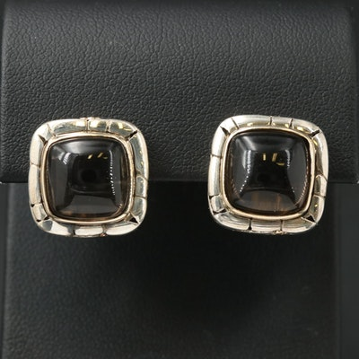 Sterling Smoky Quartz Earrings with 14K Accents