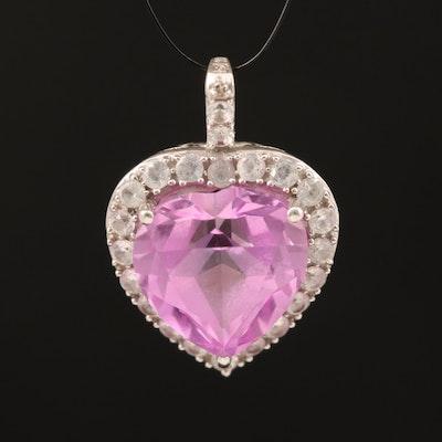 10K Gold Sapphire and Diamond Halo Heart Pendant