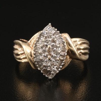 14K Diamond Navette Cluster Ring