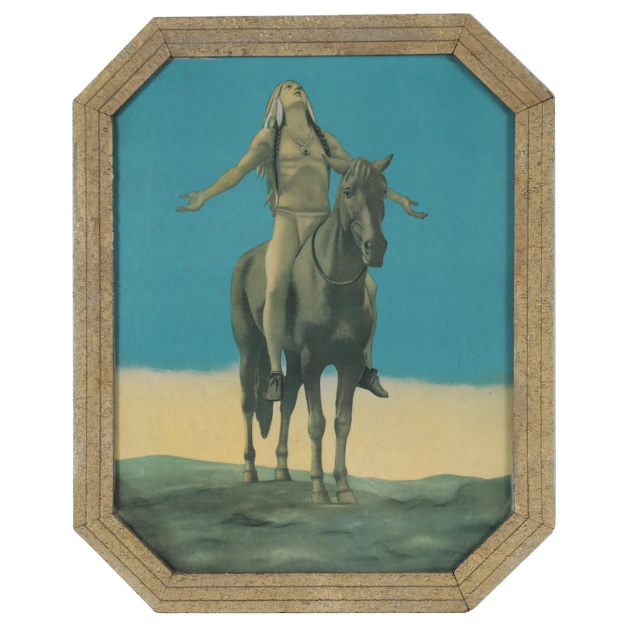 """Offset Lithograph After Cyrus Edwin Dallin """"Appeal to the Great Spirit"""""""