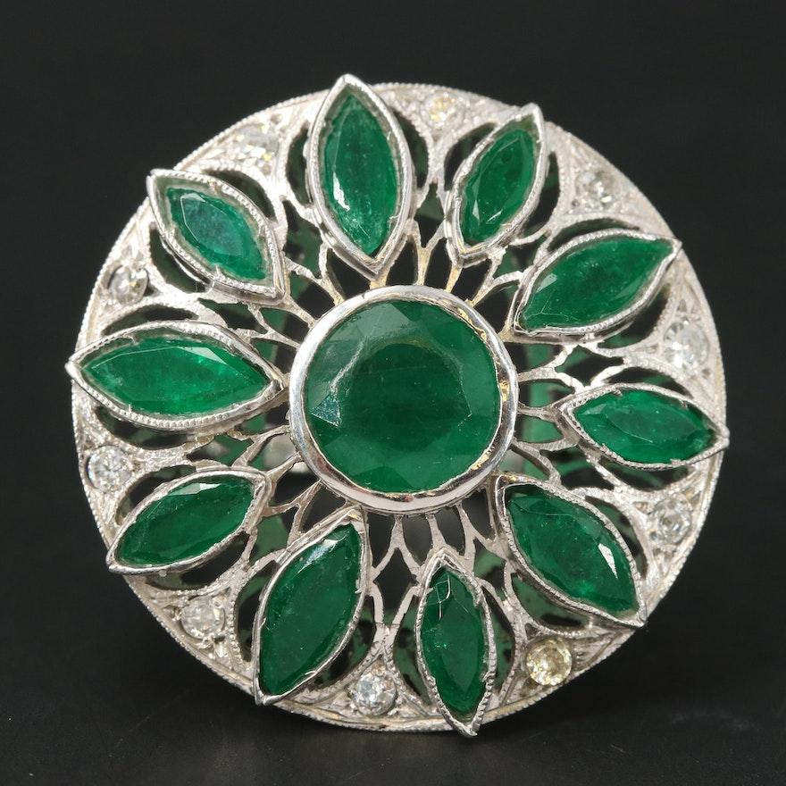 1950s Platinum Emerald and Diamond Flower Ring