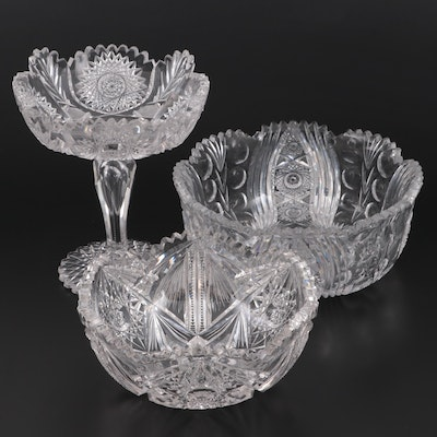 American Brilliant Style Cut Glass Serving Bowls and Compote