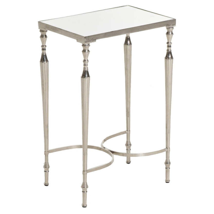 Contemporary Chrome Finished Accent Table with Mirrored Top