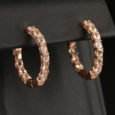 Sterling Morganite Inside-Out Hoop Earrings