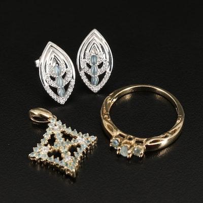 Sterling Jewelry Including Cat's Eye Alexandrite, Alexandrite, White Zircon