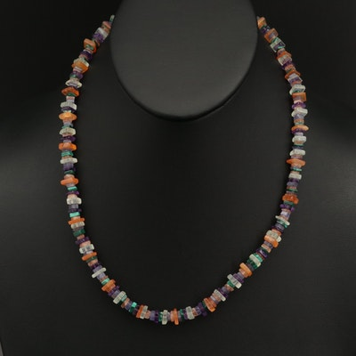 Sterling Multicolored Gemstone Necklace with Tanzanite, Amethyst and Sunstone