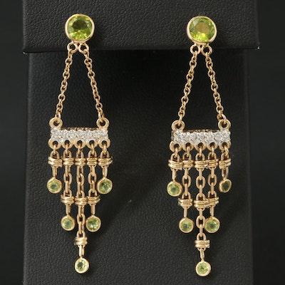 14K Peridot and Diamond Chandelier Earrings