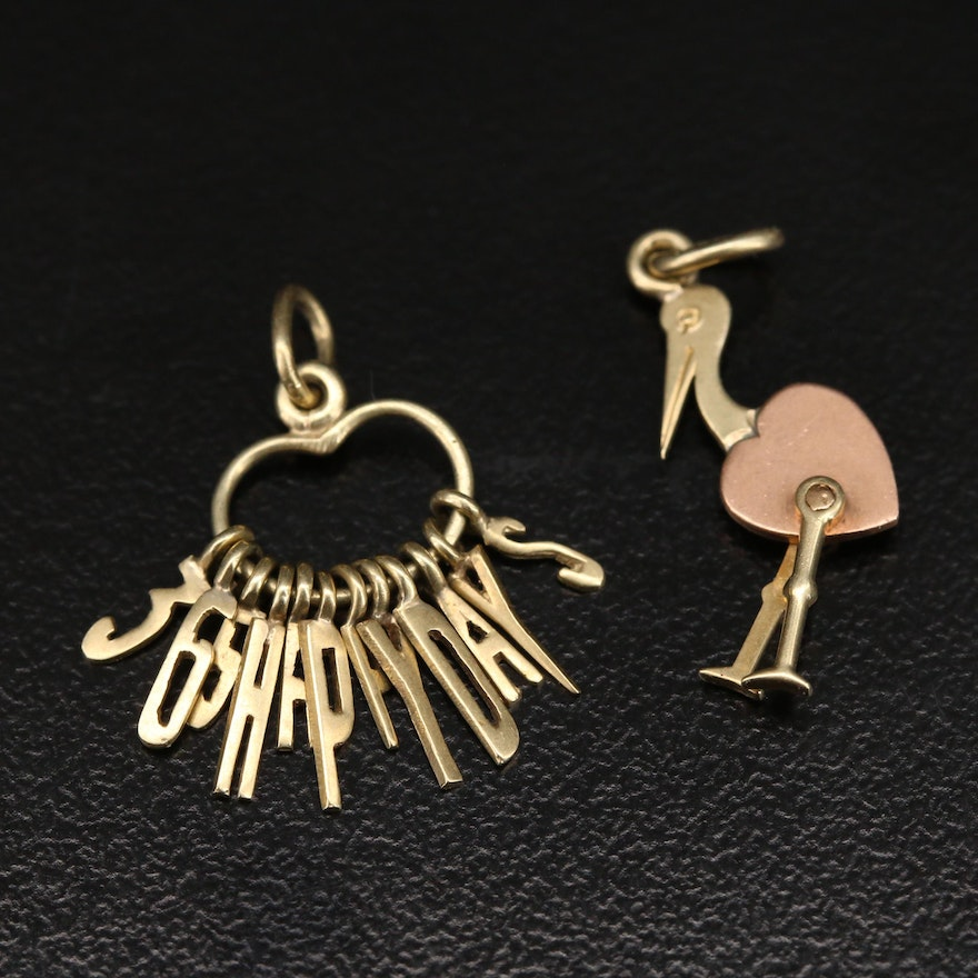 Vintage 14K Articulated Stork and 365 Happy Days Charms