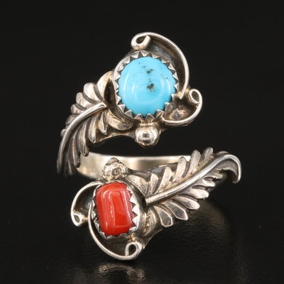 Southwestern Style Sterling Turquoise and Coral Bypass Ring