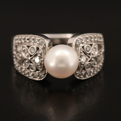 14K Gold Pearl and Diamond Ring with Foliate and Milgrain Accents