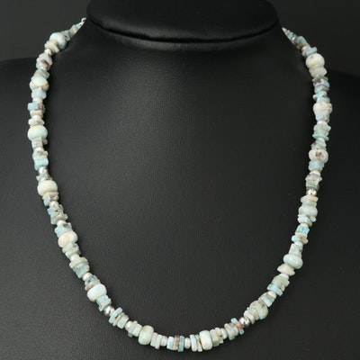 Sterling Larimar, Pearl and Gemstone Bead Necklace