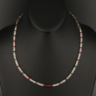 Opal and Corundum Beaded Necklace