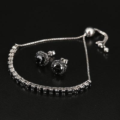 Sterling Silver Black Spinel Bolo Bracelet and Earrings