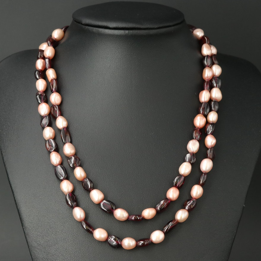 Garnet and Pearl Double Strand Necklace