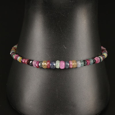 Graduated Gemstone Beaded Bracelet with Sapphire, Ruby and Emerald
