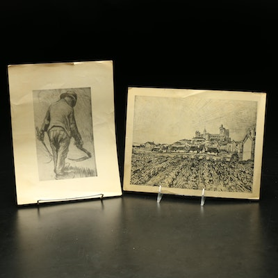 Reproduction Prints of a Man in a Field and a Town Skyline
