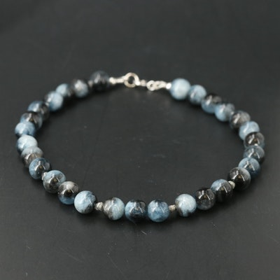 Sterling Beryl and Diamond Bead Bracelet with 14K Clasp