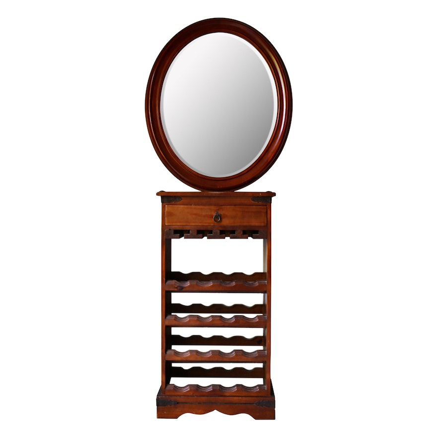 Bombay Co. Beveled Oval Wall Mirror and Other Rustic Pine Wine Bar Cabinet